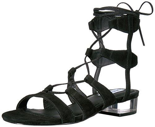 Steve Madden Women's Chely Gladiator Sandal, Black Suede, 6 M US (Gladiator Madden Steve)