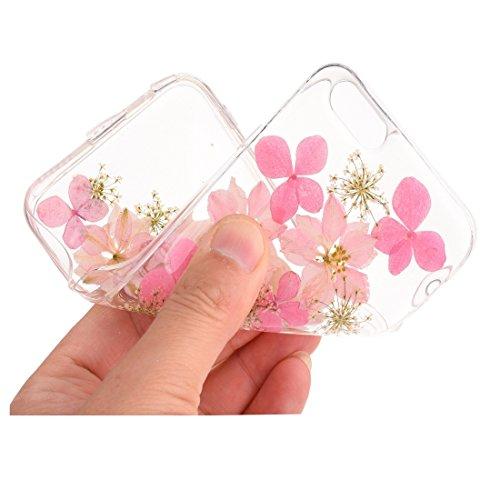 Wkae Epoxy Dripping gepresste echte getrocknete Blume weiche transparente TPU Schutzhülle für iPhone 6 & 6s ( SKU : Ip6g2996c ) Ip6g2996l