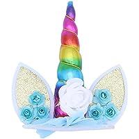 BESTOYARD Unicornio Horn Cake Topper orejas y flores Cake Decoration Cumpleaños Baby Shower Unicorn Theme Supplies (colorido)