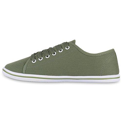 Basic Damen Sneakers | Sneaker Low Denim | Stoffschuhe Schnürer | Freizeitschuhe Dunkelgrün