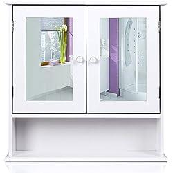 Homfa Campagne Placard Meuble Armoire Suspendue Blanc Dressoir avec Portes Miroir (Type-2)