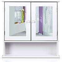 HOMFA Landhaus Spiegelschrank Hängeschrank mit 2 Spiegeltür Wandschrank Badschrank Küchenschrank Medizinschrank Wandboard Regal Weiß 56x13x58cm (Spiegelschrank Weiß)