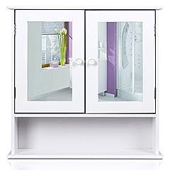 Idea Regalo - Homfa Stile Rustico Armadietto Arredo Specchio a Parete, Mobiletto in Legno da Muro, Cremagliera Scaffale Cucina/Bagno e Decoazione Salotto con Specchio 56 × 13 × 58cm Bianco
