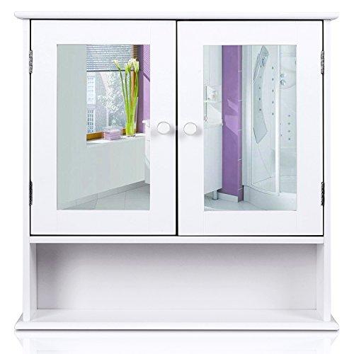 HOMFA Landhaus Spiegelschrank Hängeschrank mit 2 Spiegeltür Wandschrank Badschrank Küchenschrank Medizinschrank Wandboard Regal Weiß 56x13x58cm (Spiegelschrank Weiß) Test