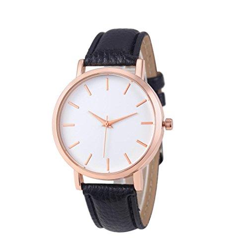 Sunnywill Frauen Mädchen Damen Schöne Mode Design PU Leder Edelstahl Männer Stahl Analoge Quarz Armbanduhr für Weibliche Studenten