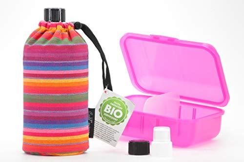 Trinkflaschenset aus 1 Emil die Flasche 0,4l mit kompatiblem Deckel Set + Brotdose Bio Streifen Brotdose pink