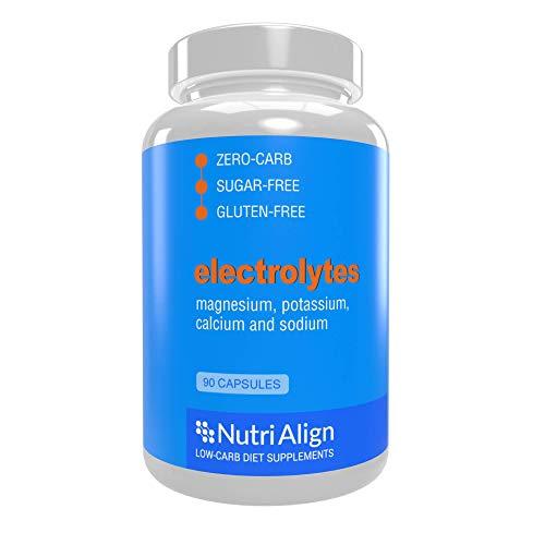 Nutri-Align Elektrolyte: Magnesium, Kalium, Kalzium, Natrium. Sorgt für eine gesunde Elektrolytenbalance und hilft zur Linderung der Keto-Grippe. Zuckerfrei, kohlenhydratarm, glutenfrei. 90 Kapseln.