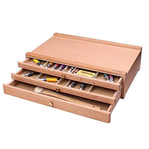 Staffeleien Box Mit Schublade, Tragbare Künstler Holz Desktop Sketch Tool Aufbewahrungsbox -