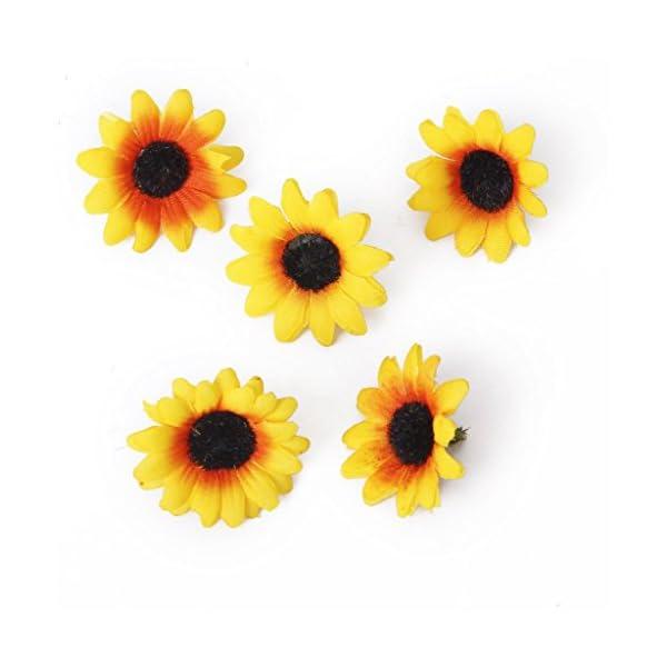 SODIAL (R) 100x Artificial Gerbera cabezas de las flores de la boda de DIY (Girasol amarillo)