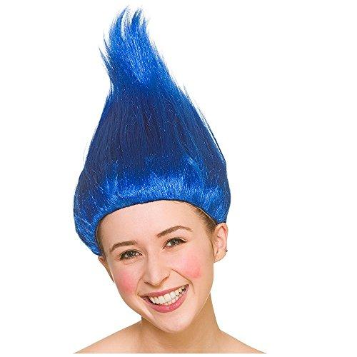Troll Wig Blue for Fancy dress Accessory