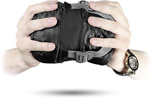 normani Ultralight Schlafsack Runty KOMPAKTE GRÖßE! 3D Mikrofaser Microtech Füllung, wasserdichter Sommerschlafsack Farbe Black Größe 210 cm x 75 cm x 60 cm (Rechts)
