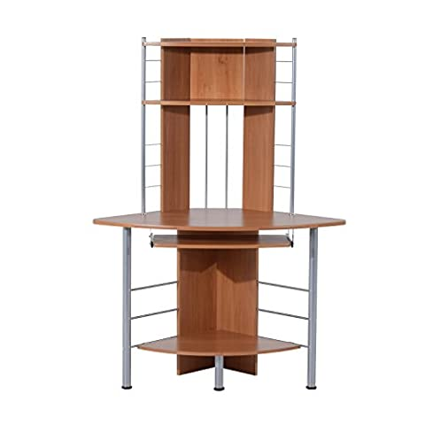 HOMCOM Computer Desk Compact Corner PC Table Workstation with 3 Shelves Home Office Furniture (Beech wood)