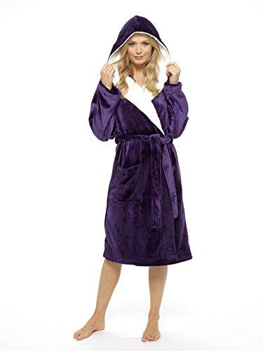 CityComfort® Luxus Bademantel Damen Super Soft Robe mit Fell gefütterte Kapuze Plüsch Bademantel für Frauen-perfektes Geschenk (small, deep purple) (Baumwoll-terry-stoff-robe)