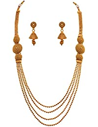 JFL - Traditional Ethnic One Gram Gold Plated Designer Long Necklace Set With Earring For Women And Girls.