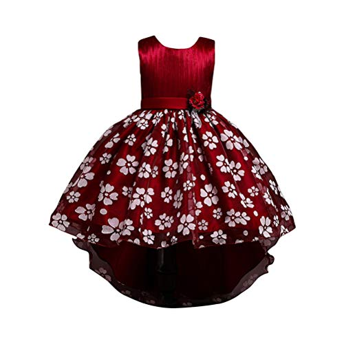 TAAMBAB Blumenmädchen Kleid Maxi Flower Belted Dress Kommunion Party Langes Kleid Hochzeitsfeier Brautjungfer Alter Tüll Formale Brautjungfer Kleid 2-14 Jahre (Lace Belted Dress)