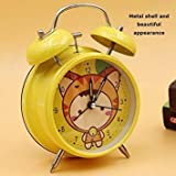 Meet The World Metal Cute Student Fashion Bell Ring Mute Clock European with Night Light Table Bedside Clock - 3 inch