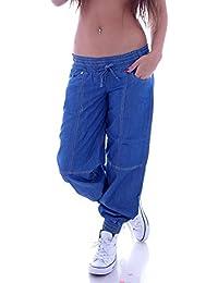 Damen Aladin Harem Jeans Hose Baggy Boyfriend Pluderhose Blau S 36 M 38 L 40 XL 42 XXL 44