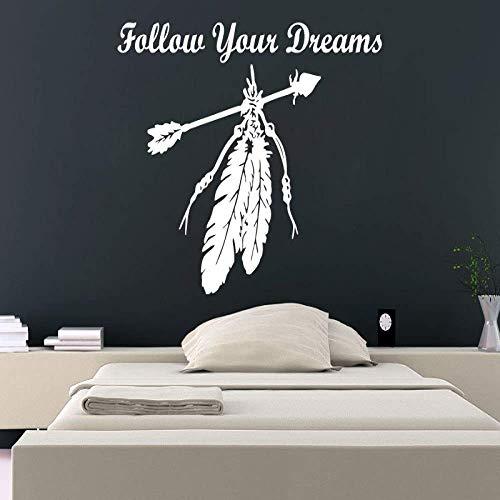Sigue Tus Sueños Con Hermosas Pegatinas De Pared De Atrapasueños Citas Plumas Y Flechas Arte Vinilo Pintura De Pared Apliques Blanco 29X57Cm