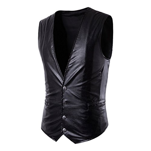 Hibote gilet in pelle pu per uomo slim fit gilet in pelle mens suit gilet casual senza maniche giacca business formale nero 3xl