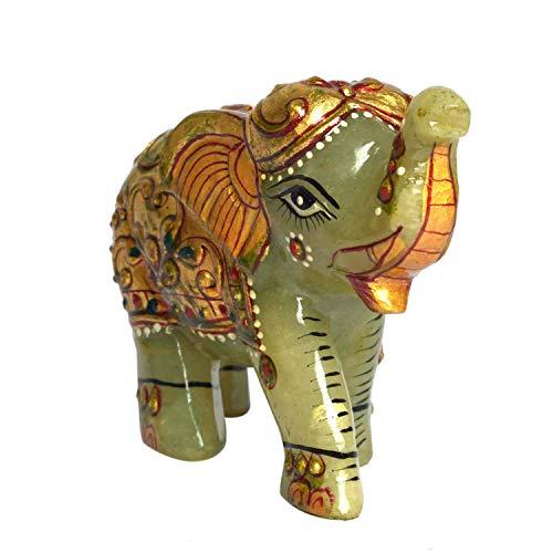 Estatua de la Gema de Jade Verde, Aproximadamente 1000.00 CT de Elefante para decoración del hogar, Pieza de exhibición, Figura de la Suerte, Estatua llamativa