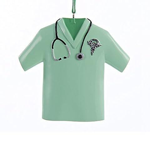 Green Nurse Scrub Top with Stethoscope and RN Symbol Christmas Ornament by Kurt Adler