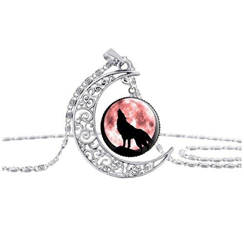 Axibi Mode Damen Wolf Strass Mond Halskette Anhänger Schmuck Geschenk (A)