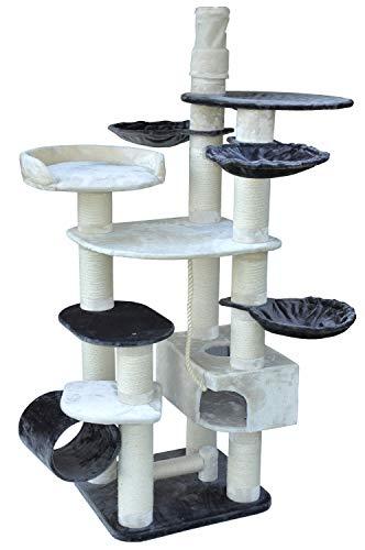 nanook Taurus - Katzen-Kratzbaum XXL für große und schwere Katzen (mit Ø 15 cm Stämmen), deckenhoch (245 cm) stabil (Höhe: bis 245 cm (verstellbar), Beige/Dunkelgrau)