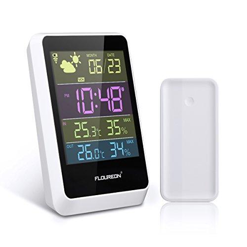 FLOUREON Wetterstation Funk mit Außensensor Funkwetterstation mit Thermometer Hygrometer Wireless Weather Station Innen Außen, Wettervorhersage, DCF Empfangssignal | LCD-Display