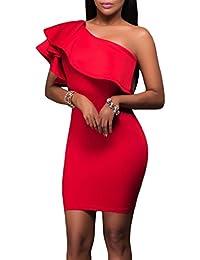 4aa031363c49 MYWY - Abito Donna Monospalla Vestito Volants Corto Elegante Vestitino  Aderente Party