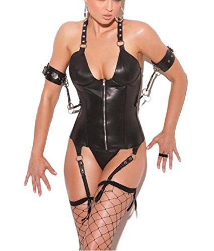 DuuoZy Frauen-Kunstleder Straps Bustier Korsett mit Strumpf Wet Look Sexy Dessous Set , black , l