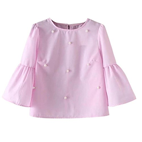 Langarmshirts Damen AMUSTER Frauen Langarm Oberteil Flare Hülse Perlen Bluse 2017 Sommer Herbst Lässig Shirt Tops (Rosa, (Kostüme Sexy Fußball)