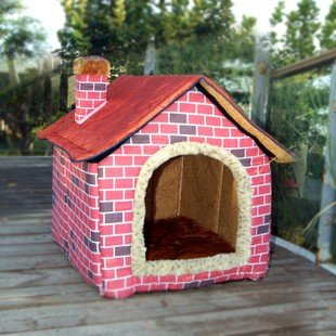 Brick Wall Style Pet House Large Dog Bed Large three size Pink (70*60*58)
