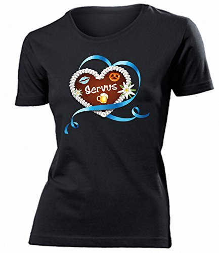 Lebkuchenherz Servus 4369 Oktoberfest Outfit Artikel Kostüm Tshirt verkleidung Dirndl Wiesn Frauen Damen T-Shirts Schwarz XXL