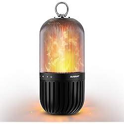ELEGIANT Haut-Parleur de Flamme Enceinte Bluetooth 4,2 Haut-Parleur Portable Imperméable IP65 Anti-poussière Commande Tactile Son Stéréo Lumière d'Ambiance pour Cour Jardin Maison Couloir Lac etc.