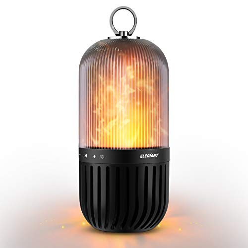 th Lautsprecher, tragbarer Wireless LED C10 Lautsprecher 5W Stereo Flamme IP65 Wasserdicht Speaker Boombox mit 60 LEDs Flammenlampe für Campen Picknick Dekoration Weihnachten ()