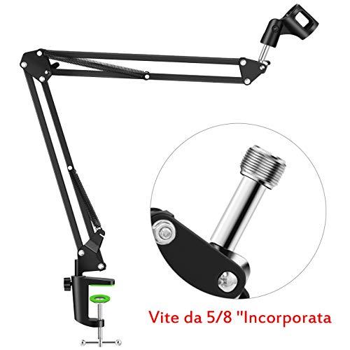 NEUMA Microfono sospensione Mic Stand Braccio braccio forbice Supporto microfono con vite da 5/8