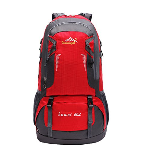 Imagen de deportiva bolsa  bolsos  impermeable 60l al aire libre de excursión de deporte montaña acampada ciclismo  rojo, 61 x 37 x 21 cm