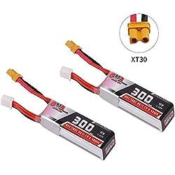 2 UNIDS GAONENG 300mAh HV LiPo Batería 3S 80C / 160C 11.4V XT30 Conector para FPV Racing Drone