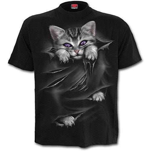 Spiral Direct Damen Bright Eyes-Front Print Black T-Shirt, Schwarz 001, 46 (Herstellergröße: X-Large)