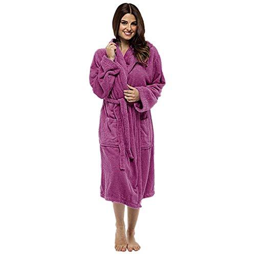 5414dcb475f08 Robe de Chambre pour Femmes - Sunenjoy Coton éponge Peignoir de Luxe Très  Absorbant Capuche et