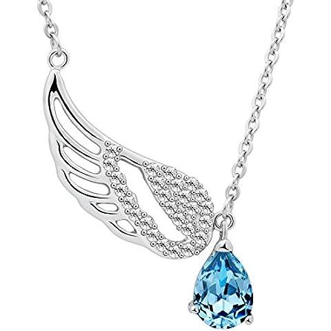 [Oferta del Día] T400Jewelers Ocean Blue collar con colgante de alas de Heavenly con elementos de Swarovski Cristal