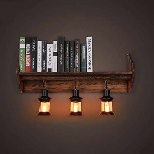 D G F Massivholz Bücherregal Wand Lampe Retro Industrial Wind Coffee Shop Restaurant Lichter Creative Schlafzimmer Nachttischlampe -