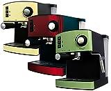 Espressomaschine Cappuccino Espresso Automat Maschine Edelstahl 15bar mit Milchaufschümer (Rot)