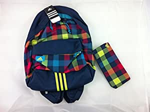 Adidas Checked Backpack And Pencil Case, Blue/Lime (backpack school bag ruck sack rucksack)