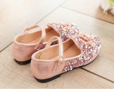 Ohmais Enfants Filles Chaussure cérémonie Ballerines à bride Fête Demoiselle d'honneur Mariage Escarpin à petit talon Or