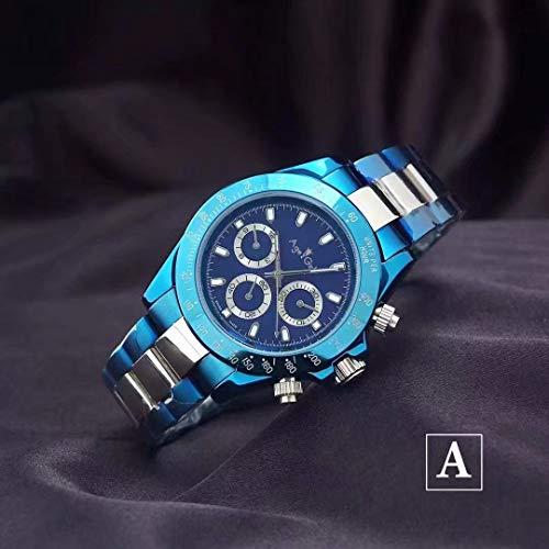 WDXDP Uhr Luxusmarke Neue Männer Automatische Mechanische Blau Platin Leinwand Stoff Edelstahl Saphir Daytona Sportuhr AAA + 1 - Retro Daytona Leder