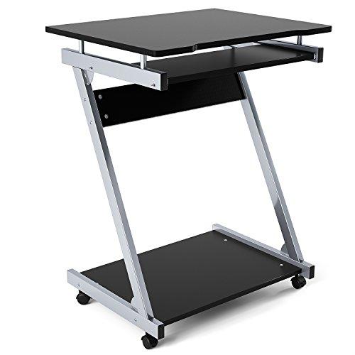 Homfa scrivania per computer, tavolo porta pc da ufficio/ salotto/ camera da letto con ripiani tastiera scorrevole + 4 ruote con freno 60 × 48 × 73 (nero)