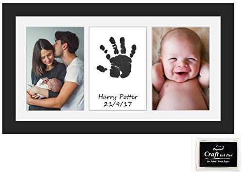 Beautiful Baby Handprint & Footprint Keepsake Frame in Smart Box with Ink Pad | Stylish Decoration for Room Wall or Nursery Decor | Easy to Use | Special Newborn Baby or First Birthday Gift | Gift for New Dad or New Mum