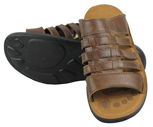 Echt Leder Herren Beach Breite Füße Walking Slip On Sandale in Schwarz und Braun offen Braun