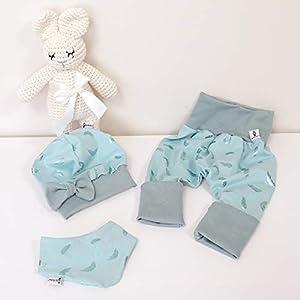 ANGEBOT Set – Hose, Schleifenmütze, Halstuch – Pastellmint Federn metallic (Mint) Schleife Mint Baby Mädchen